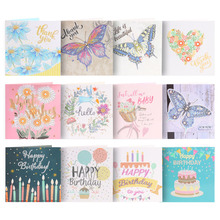 4/12Pcs 5D DIY Diamond Painting Greeting Card Special-shaped Butterfly Festival Card Happy Birthday Postcards Craft Gift