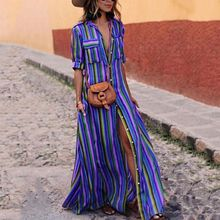 Fashion Women Turn-Down Collar Maxi Dress With Sleeve Striped Button Floor Length Dress For Lady High Waist Pocket Sundress button up shirred waist striped dress