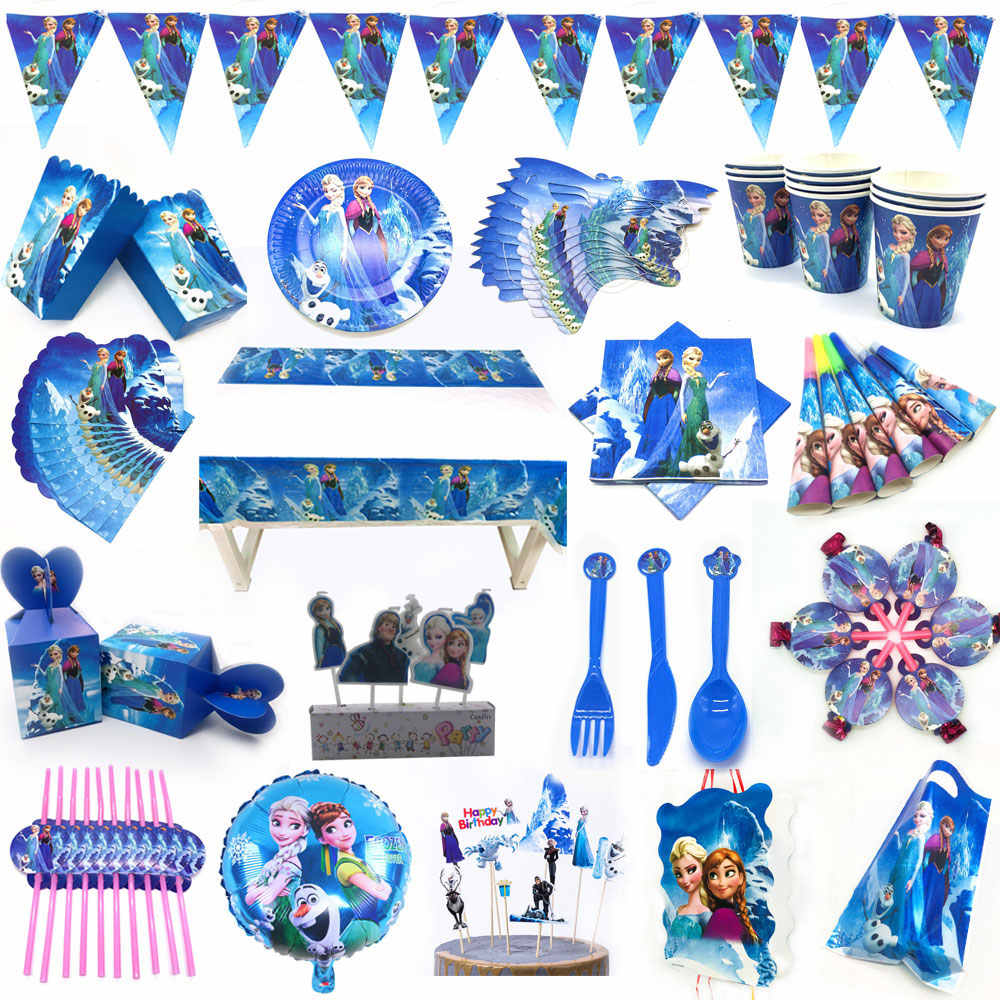 Disney Prinses Verjaardagsfeestje Decoratie Elsa Anna Princess Party Platen Ballon Hoed Cup Levert Sets Disney Party Decoratie