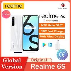 Realme 6s 6 ГБ 128 ГБ 90 Гц дисплей 48 МП четыре камеры FHD NFC мобильный телефон Android 10 4300 мАч 30 Вт Быстрая зарядка