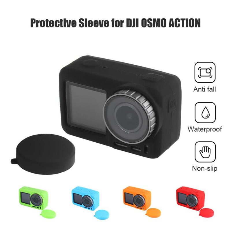 CAOMING Silicone Protective Lens Cover for DJI New Action Durable Color : Blue