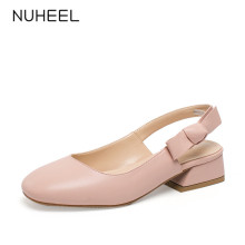 NUHEEL women's shoes new summer bow small fragrance style pumps middle heel shallow mouth thick heel shoes women