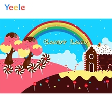 Yeele Candy Dessert Sweet Rainbow Backdrop Birthday Party Photocall Customized Photography Background Vinyl For Photo Studio