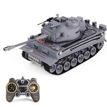 LCF-tanque militar alemán Tiger para niños, juguete de tanque de batalla de 1:18, 2,4G, con sonido de humo y luz de Control remoto