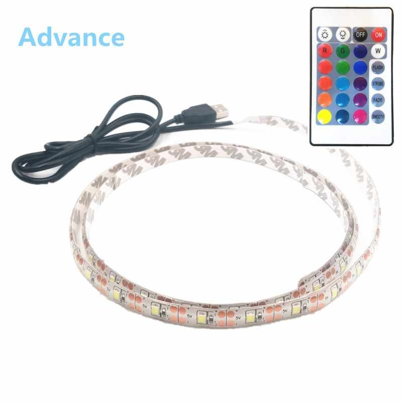 USB LED Strip SMD3528 Light 5V Adaptor String Natal Dekorasi Meja Lampu Tape untuk TV Pencahayaan Latar Belakang 5V 50CM 1M 2M 3M 4M 5M