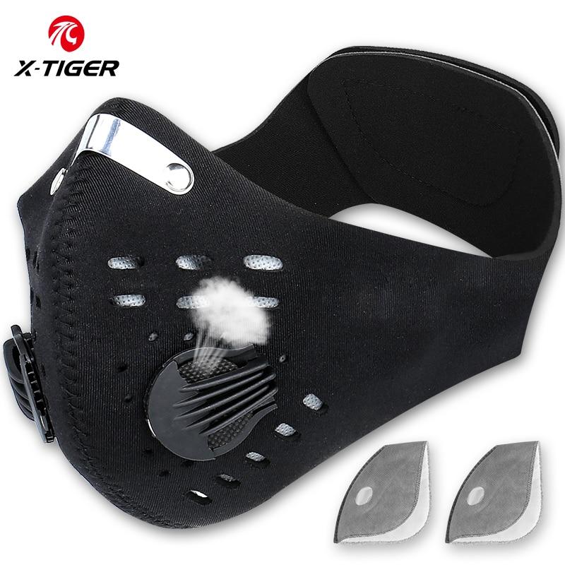 X-Tiger Pro Bersepeda Masker dengan KN95 Filter Pelindung Bersepeda Topeng Karbon Aktif Anti Polusi Pelatihan Olahraga Sepeda sungkup Muka title=