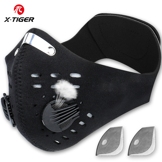 X-Tiger Pro Cycling Face Mask With Filters Breathable Cycling Mask Activated Carbon Anti-Pollution Sport Training Bike Facemask