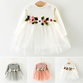 2020 newborn baby girls flower kids dress for lace cake tutu halloween party princess dress birthday party event prom dress 0 8y 3Colors-1Pcs Baby Girls Dress Cute Flower Birthday Party Princess Pageant Prom Dress 3M-3Y