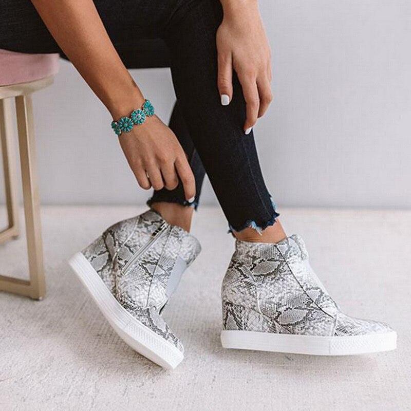 Dropshipping 2019 botas de plataforma de otoño botas de Mujer Zapatos de cuña casuales de Mujer Zapatos de cremallera de Color sólido chussures femme XYZ268 Zapatos planos de alpargatas para mujer, zapatillas blancas superligeras, mocasines de verano y otoño, chaissures, zapatos planos de cesta para mujer