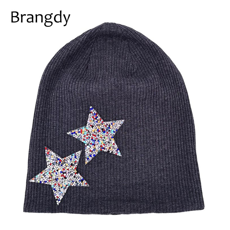Autumn Winter Women Rhinestones Star Slouch Beanies Hats Soft Cotton Ribbed Skullies Bonnet For Ladies Kint Gorro Hats And Caps