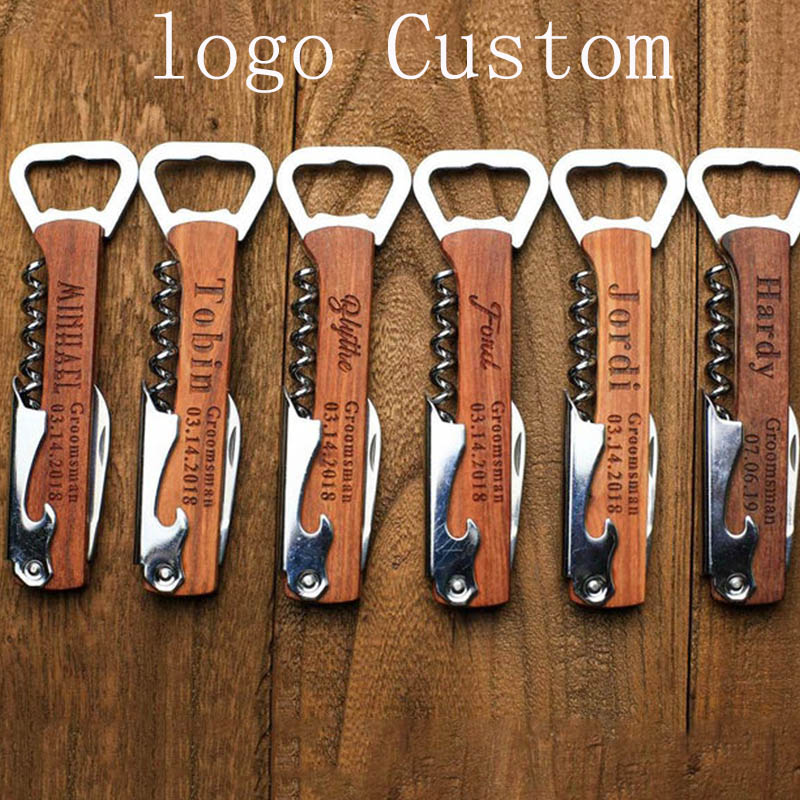Wood Handle Wine Knife Corkscrew Wine Opener OEM Engraved Corkscrew Opener Groomsmen Idea Personalized Beer Bar Wedding Gift