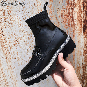 Image 2 - Buono Scarpe Metal Chains Women Ankle Boots Elastic Tassels Short Boots Platform Black Punk Shoes Mujer Ladies Socks Boots 2019