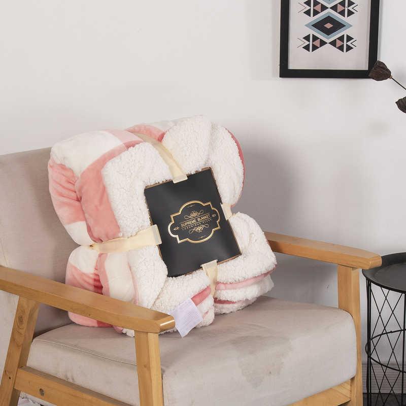 リヴ-Esthete クラシックピンクグリッド厚いシェルパブランケットポータブル車ソファ毛布ベッドフリーススローおかしいぬいぐるみベッドカバー