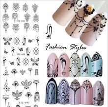 цены 3 Style French Art Series Watermark Nail Sticker Necklace Flower Pattern DIY Nail Art Sticker Manicure Nail Decoration ONE PIEC