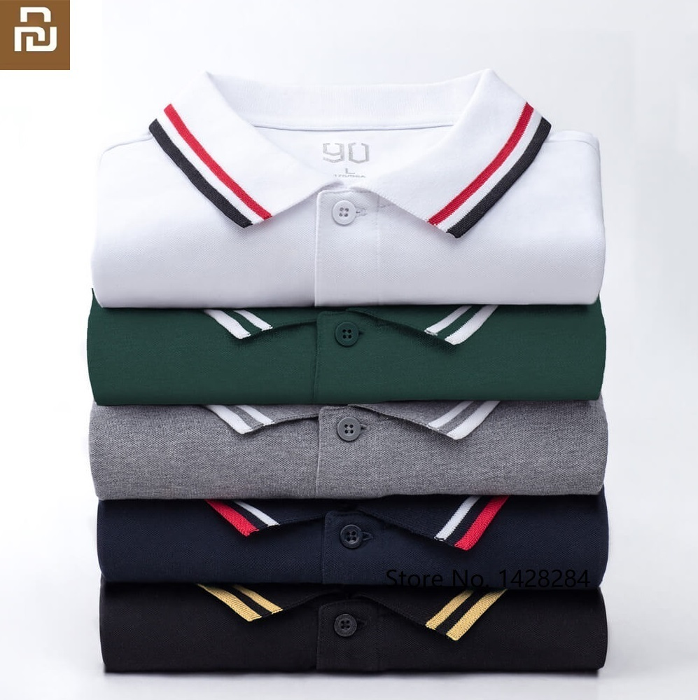 Youpin 90 FUN Man Fashion Trend Classic Lapel Short Sleeve Polo Shirt Cool Silky Summer Dress Outdoor Leisure Cotton Shirt
