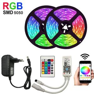 RGB LED Strip Light 15M String Light Waterproof Flexible Light Led Ribbon Tape 5050 Led Lamps with Power Plug Controller(China)