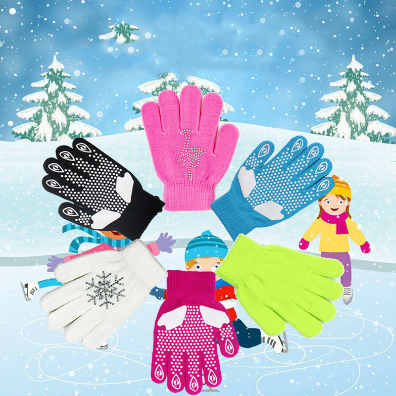 Children Waterproof Winter Warm Gloves Ski Anti-Cold Hot Fix Knitted Skating Outdoor Sport Skiing Anti-slip Full Finger Gloves
