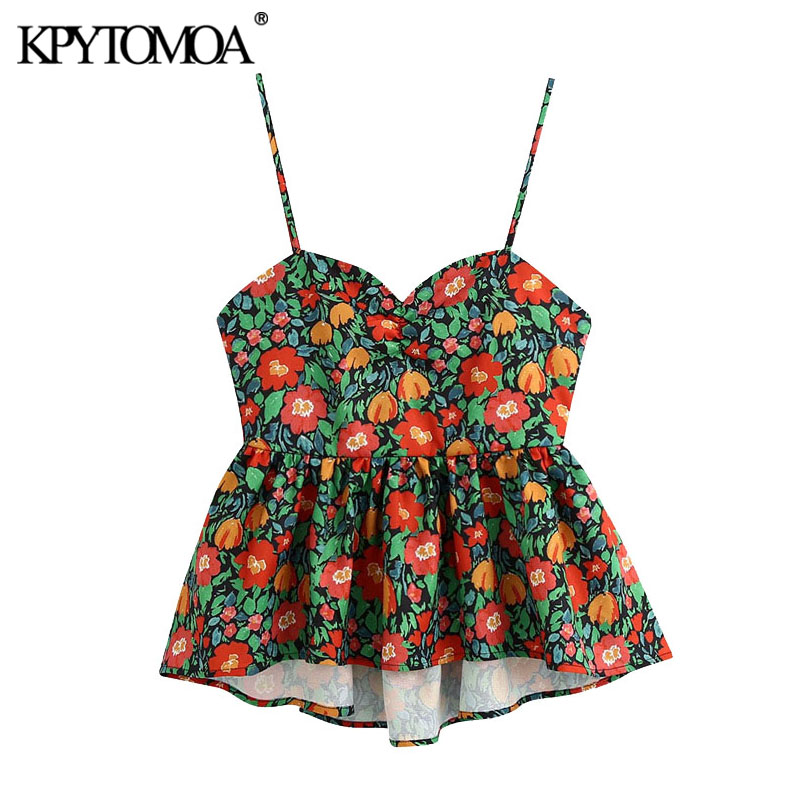 KPYTOMOA Women 2020 Fashion Floral Printed Ruffled Blouses Vintage Backless Drawstring Tied Straps Female Shirts Blusa Chic Tops