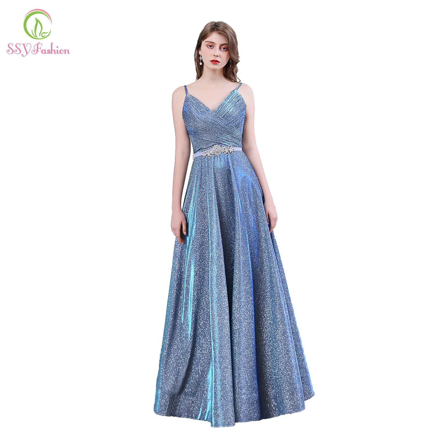 SSYFashion New Sparkling Evening Dress Sexy V-neck Backless Grey Blue Seqins Sashes Floor-length Prom Formal Party Gown Vestidos