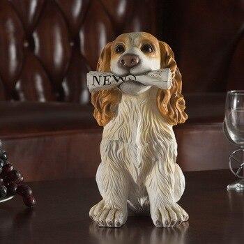 [New]Modern Sculpture Simulation pet dog cocker spaniels/Labrador/Schnauzer figure model Carving Resin Figurine Home Decorations