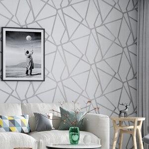 Image 2 - Серая Геометрическая настенная бумага для гостиной, спальни, серо белая узорная Современная дизайнерская настенная бумага в рулоне, домашний декор