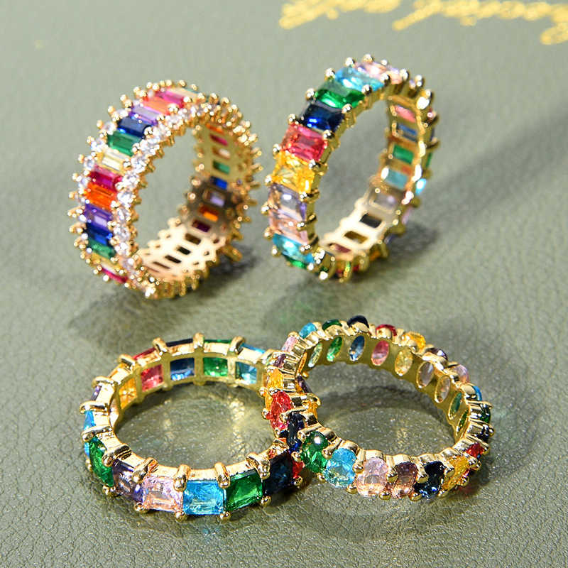 Women's copper CZ Gold Crown rainbow Rings Geometry wedding  Engagement Ring femme for party gift charm Rhinestone Jewelry
