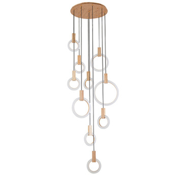 Modern LED stair chandelier lighting Nordic living room ceiling pendant lamps bedroom Acrylic rings fixtures Wood hanging lights