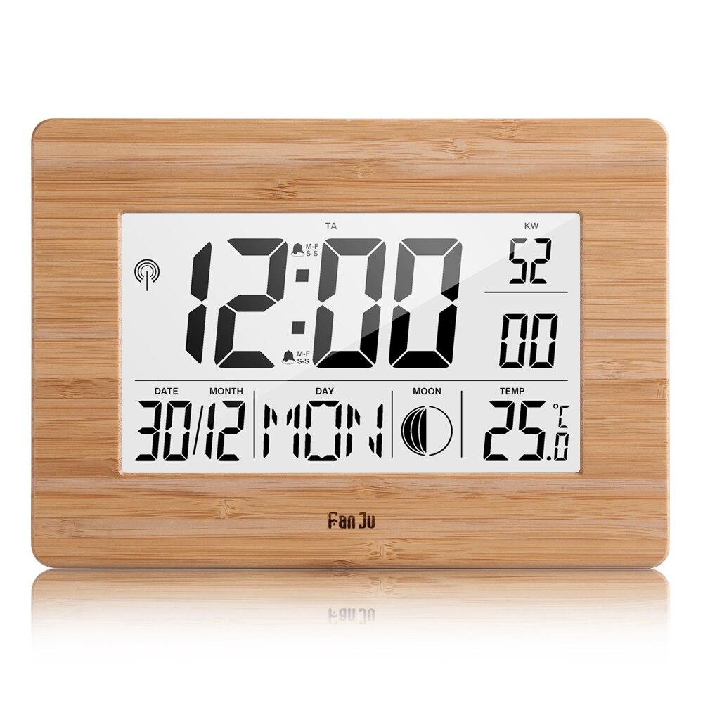 FanJu FJ3530 Будильник ЖК-цифровые настольные часы термометр температуры большой размер часы фаза Луны дисплей