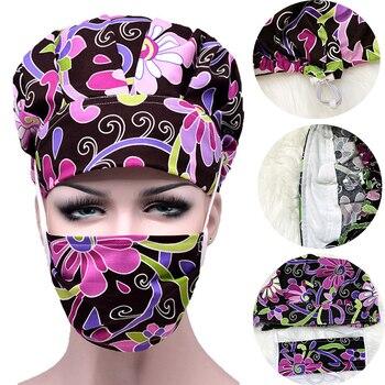 Surgical Scrub Caps Mask Sets Flower Printed Hair Cover Women Hats Hospital Doctor Nurse Surgery Nursing Cotton Adjustable Caps
