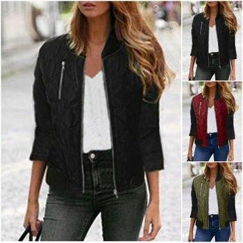 2019 Women Retro Slim Ladies Jackets Coat Zip Up Casual Tops Size S-3XL