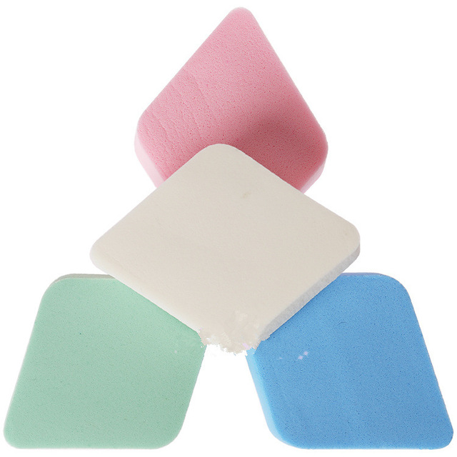 COOLBER 4 PCs Wet And Dry Dual Purpose Puff Rhombus Sponge Cotton Puff Flutter Wipe Liquid Foundation BB Cream Powder Makeup Too 1