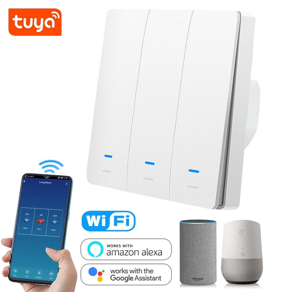 Tuya WiFi Smart Switch 86 EU Light Switch Work with Alexa Google Home 1 2 3 gang 2200W Wall Switch Voice Control Smart Life APP