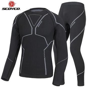 SCOYCO Motorcycle Thermal Underwear Set Men's Slim Motorcycle Skiing Winter Warm Base Layers Tight Long Tops & Pants Set
