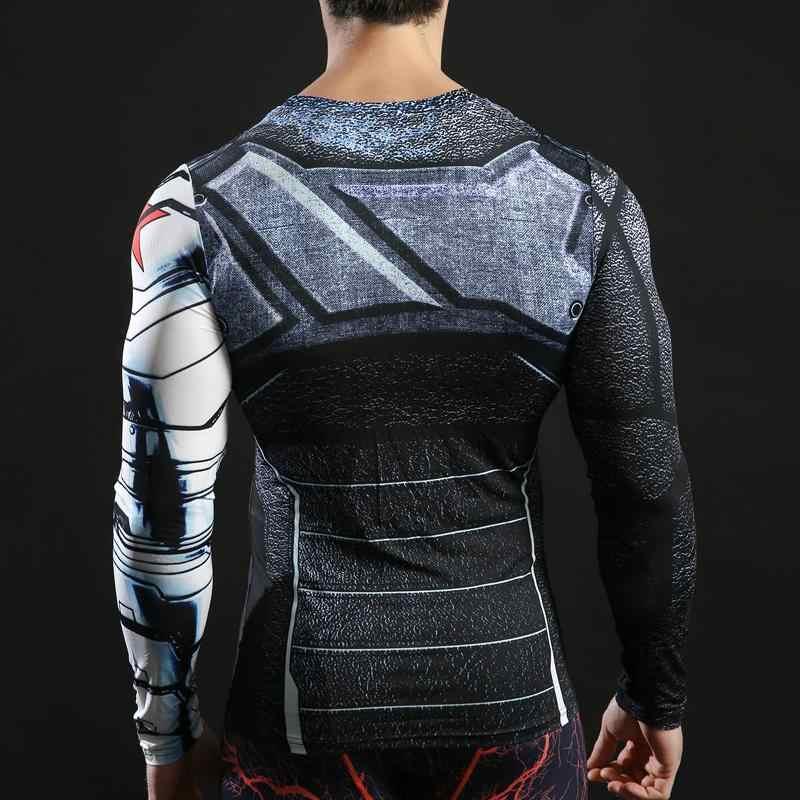 الشتاء الجندي بلايز ثلاثية الأبعاد ملابس منقوشة بكم طويل القمم الرجال ضغط اللياقة البدنية Camiseta 2017 كابتن الأمريكية تيز 2017 ZOOTOP BEAR