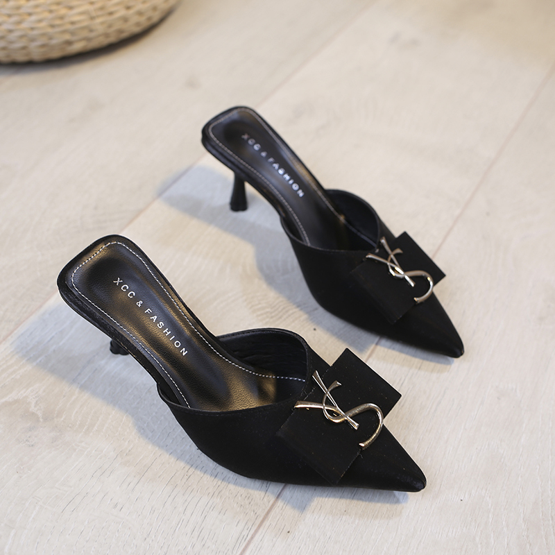 Spring High Heel Slippers Pointed Toe High Heel Sandals Fashion Woman Shoes Sandalias 2020 Summer Shoes For Women Fine Heel