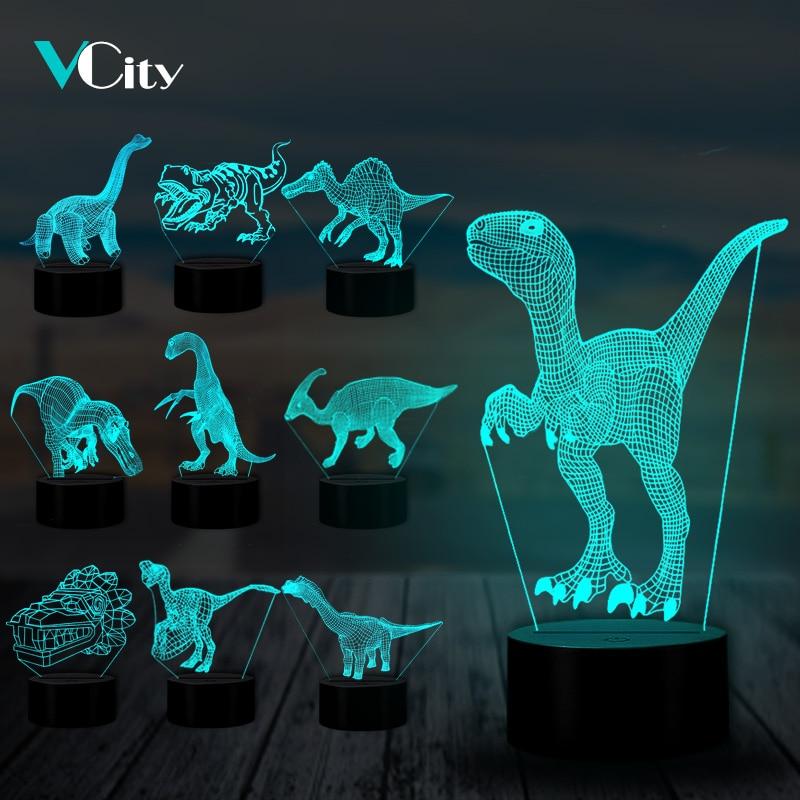 VCity Dinosaur 3D Lamp USB LED 7 Colors Nightlight Tanystropheus Lguanodon Lampa Gift For Kids Boys