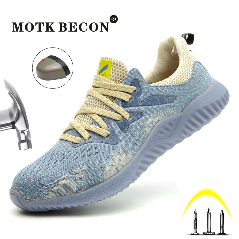 MOTK BECON 2020 Safty Shoes For Men And Women Light Weight Composite Toe Puncture-Proof Work Shoes Casual Breathable Sneakers 04