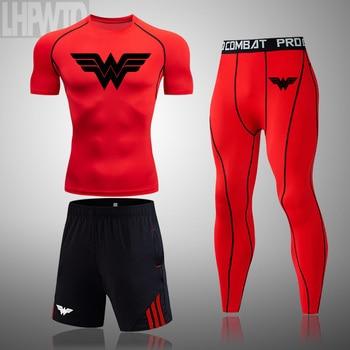 Wonder Woman Men's full Suit Compression Sport Suit Gym joggers Running Short sleeve Shirts leggings Basketball sportwear 9