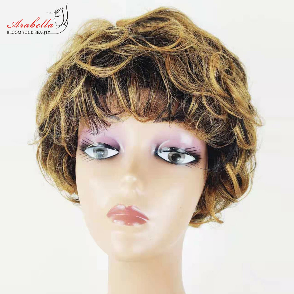 Perruque bouclée cheveux ombrés sans colle perruque 100% perruques de cheveux humains coupe de lutin perruque pour les femmes noires mettre en évidence Arabella Remy perruque de cheveux avec frange