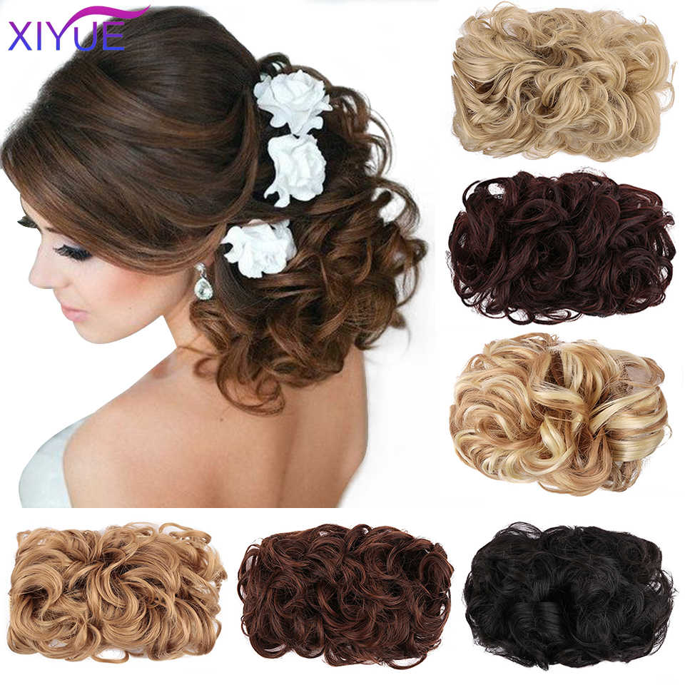 Messy Hair Bun Clip In Hair Extension 2 Plastic Comb Short Curly Hair Chignon Synthetic Hair Messy Chignon For Women Wedding Synthetic Chignon Aliexpress