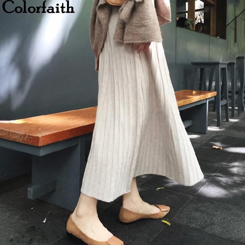 Colorfaith 2019 Women Autumn Winter Knitted Midi Skirts Mid-Calf A-Line Empire Korean Style Elegant Pleated Skirt SK5728
