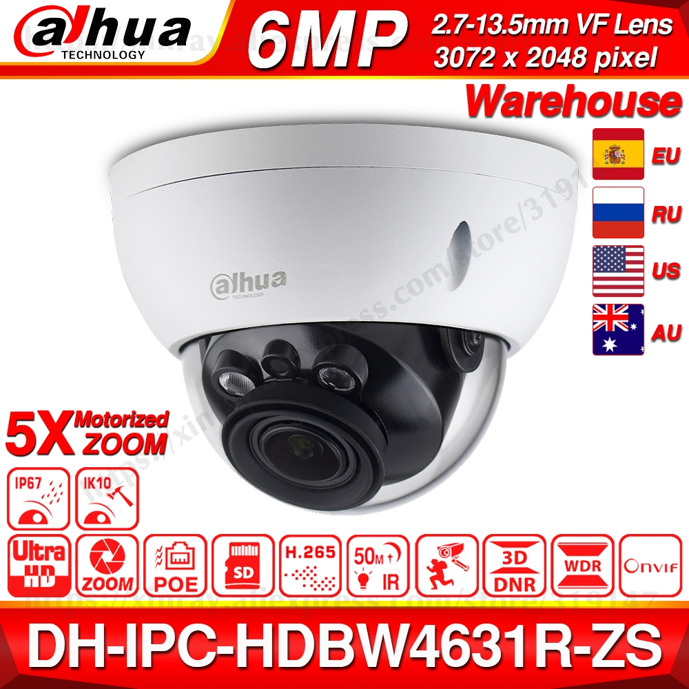 Dahua IPC-HDBW4631R-ZS 6MP IP Camera CCTV POE Motorized Focus Zoom 50M IR SD card slot Security Network Camera H.265 IK10