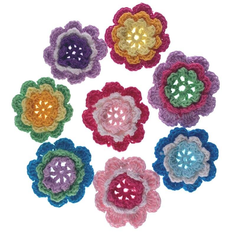 Вязаные крючком цветы ручной работы с аппликацией, вязаные цветы, вязаные цветочные коврики для шпильки, одежды, скрапбукинга, 45 мм, 10 шт.