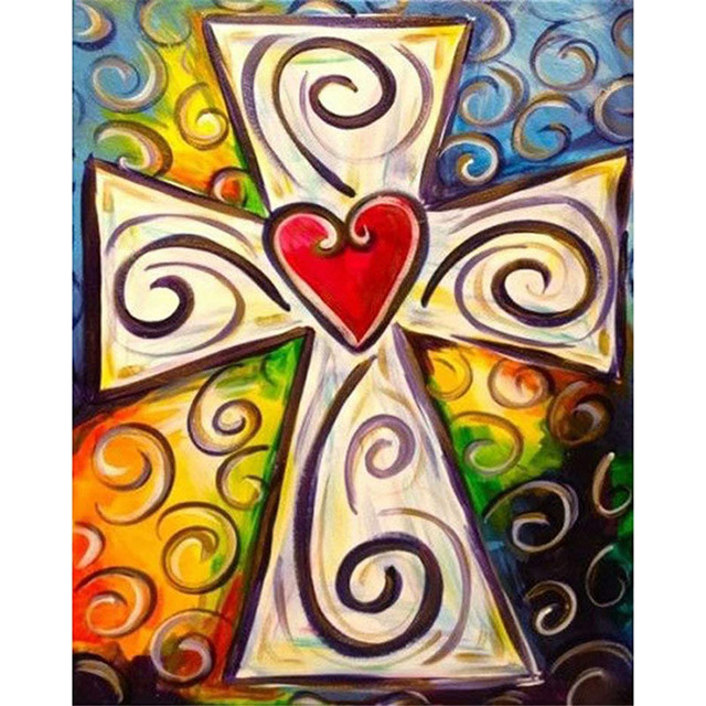 Religious Paint By Numbers Christian Cross Retro Heart
