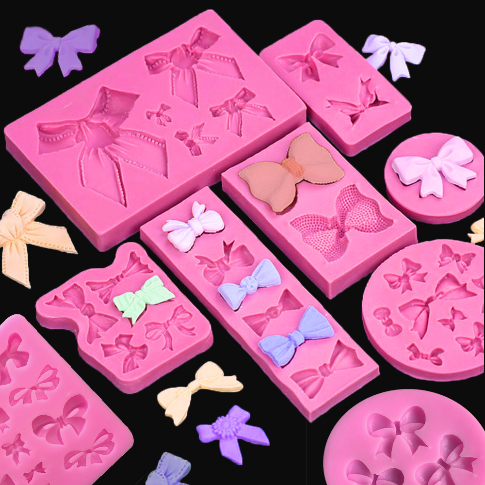 Cute Bow Silicone Mold Fondant Cake Decorating Tools Chocolate Gumpaste Moulds Kitchen Accessories Pastry Baking Gadgets
