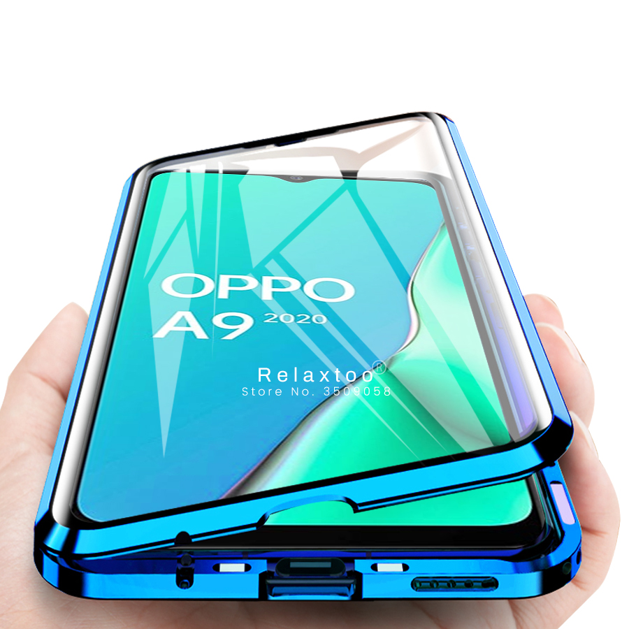 A9 2020 Case 360 Double-sides Tempered Glass Magnetic Flip Case For Oppo A5 2020 Reno Ace A3s A5 A7 F9 Realme 5 Pro/x2 Pro Coque