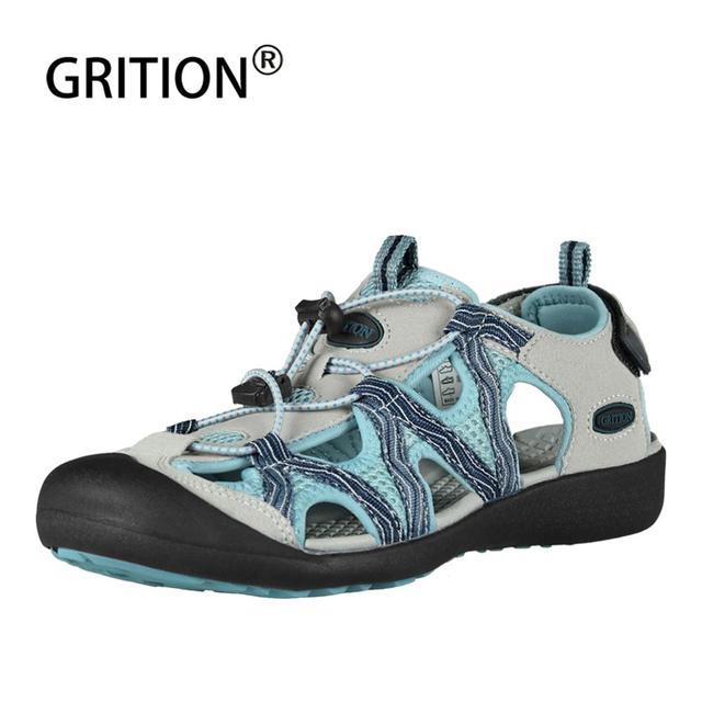 GRITION Women Sandals Flat Casual Outdoor Toecap Protective Trekking Non slip Shoes Comfort Wear risistant Fashion Beach Sandals