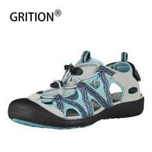 GRITION kadın sandalet düz rahat açık Toecap koruyucu Trekking kaymaz ayakkabı konfor aşınmaya dayanıklı moda plaj sandaletleri