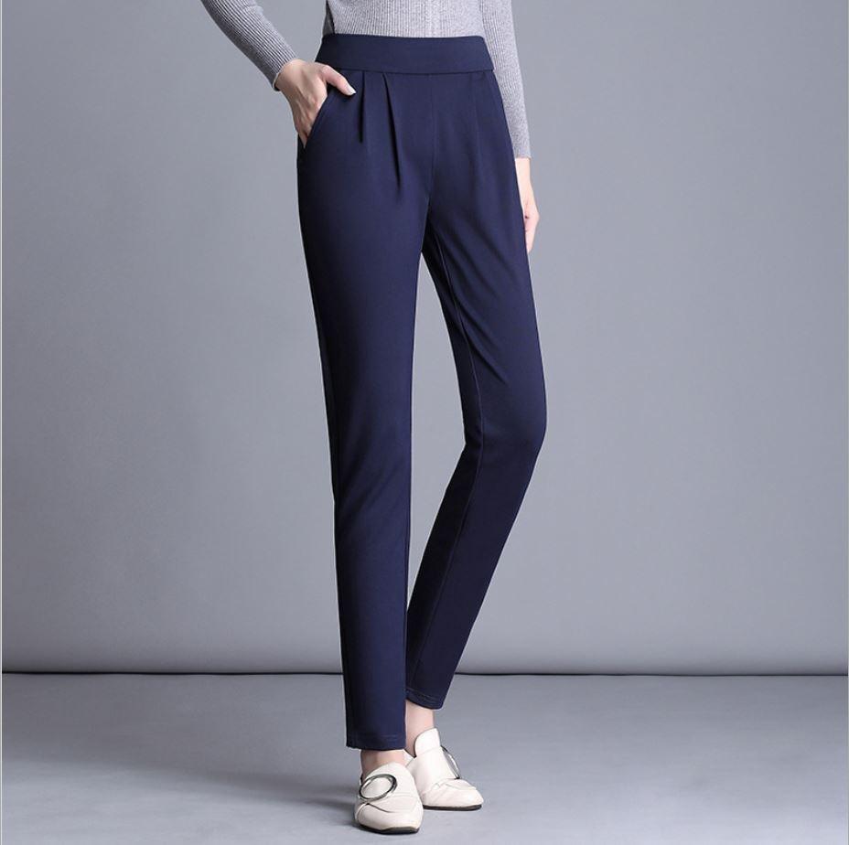 New Fashion Plus Size 4xl 5xl Solid Color Harem Pants Women Black Dark Blue Trousers Elastic Waist Women's Casual Pants Loose