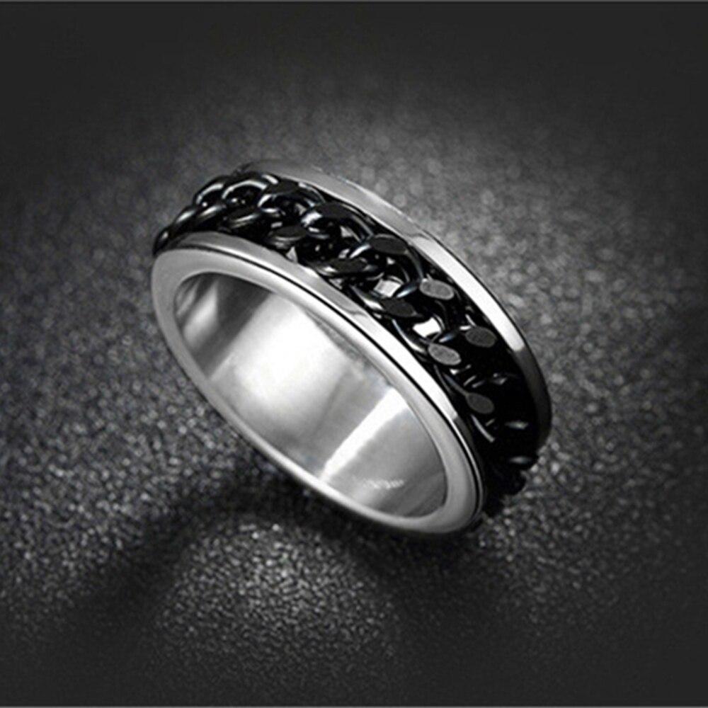 Модное мужское кольцо-цепочка из титановой стали в стиле панк, можно вращать ювелирные изделия, опт, кольца из нержавеющей стали, разные цве...
